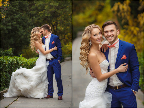 Wedding collage - the bride and groom in the Park in the summer.