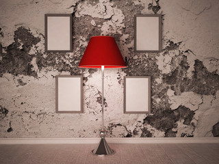 floor lamp near the pictures
