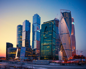Skyscrapers Buildings of Moscow City business complex at dusk, M