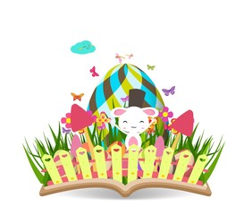 easter egg spring with grass and flowering in the book