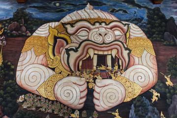 big monkey ramayana paint in wat prakaew wall