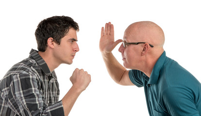 A father and son are angry