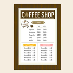 Coffee shop menu design template