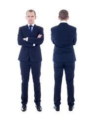 front and back view of young man in business suit isolated on wh