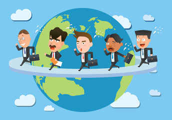 Business corporation global business concept flat character