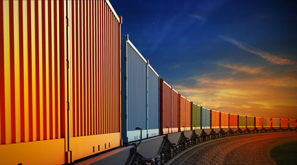 wagon of freight train with containers on the sky background Fotomurales