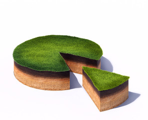 Sliced section of ground with grass