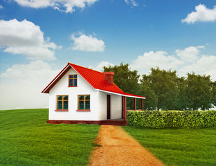3d illustration of house on the green lawn with clear sky