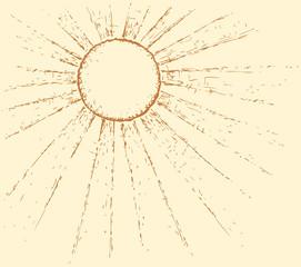 Vector monochrome picture. Sun shining