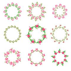 Set rose floral ornate round frames