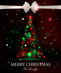 Merry Christmas typographical celebration concept with silk