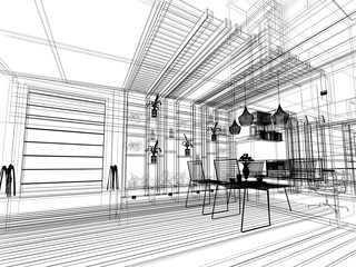 abstract sketch design of interior  ,3d