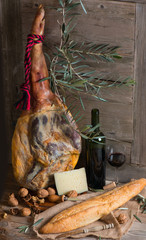 Ham, cheese, bread and red wine