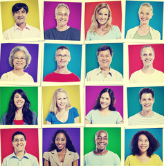 Portrait Group Diversity People Community Happiness Concept