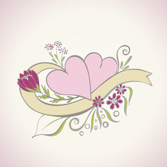 Decorative hearts for wedding invitation vector illustration
