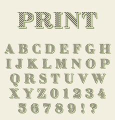 Print technique retro alphabet