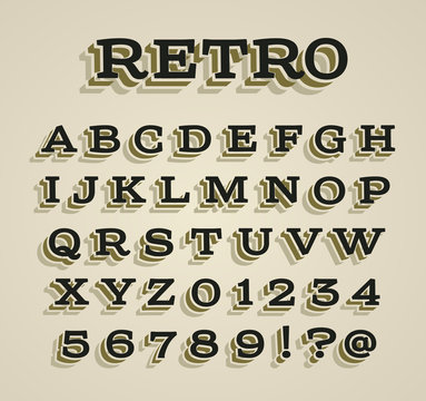 Wide retro dimensional characters set