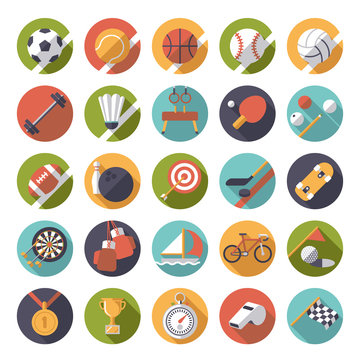 flat design sports and gymnastics vector icons set
