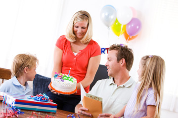 Birthday: Dad Ready To Blow Out Birthday Candle