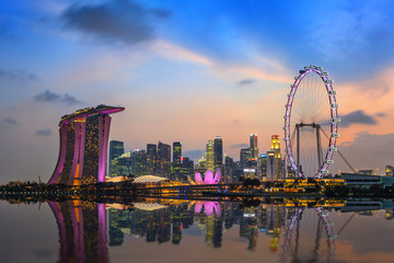 Foto op Plexiglas Singapore Singapore city skyline at Marina Bay