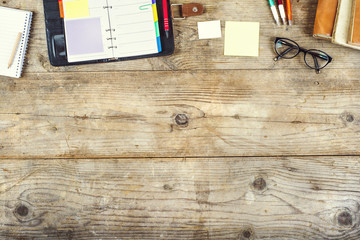 Desktop mix on a wooden office table.