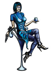 Woman with a cocktail glass and a gun