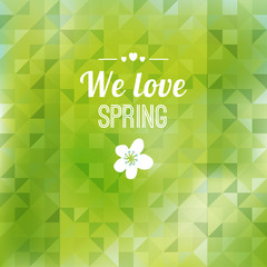 Abstract green triangle background, spring design, vector