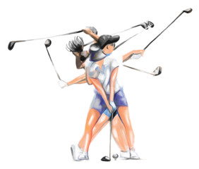 """Matrix"" golfer (woman) - An hand painted illustration."