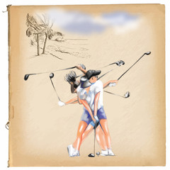 """Matrix"" golfer (woman) - An hand painted vector."