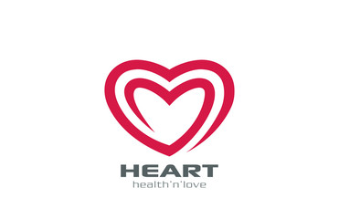 Logo Heart abstract shape vector design. Love Logotype