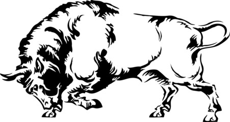 Vector illustration of buffalo silhouette on a white background