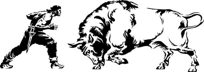 Vector illustration of man against the bull