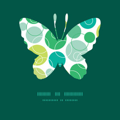 Vector abstract green circles butterfly silhouette pattern frame