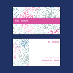 Vector gray and pink lineart florals horizontal stripe frame