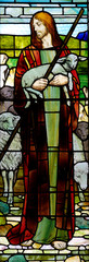 Fototapete - Jesus the good sheperd in stained glass