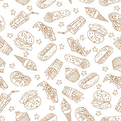 Vector seamless pattern with hand drawn fast food elements