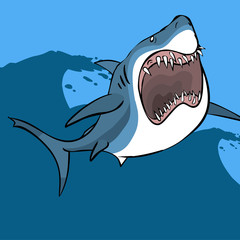 Funny cartoon shark. Vector illustration