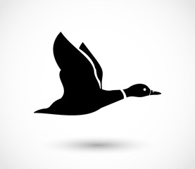 Duck flying icon, duck hunt vector