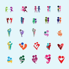 Couple Icons Set - Isolated On Blue Background - Vector Illustration, Graphic Design, Editable For Your Design. Valentines Day