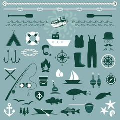 vector fish set icons, fishing boat,