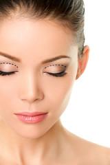 Eyelids plastic surgery concept - asian monolids
