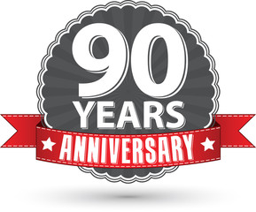 Celebrating 90 years anniversary retro label with red ribbon, ve