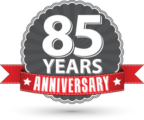 Celebrating 85 years anniversary retro label with red ribbon, ve