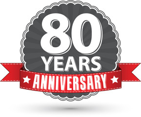 Celebrating 80 years anniversary retro label with red ribbon, ve