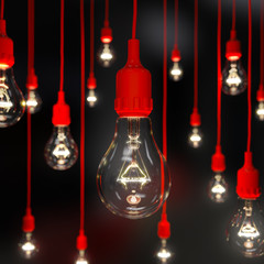 Light bulb illuminated with soft focus