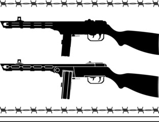 soviet machine gun. stencil and silhouette