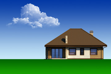 Country house on the background of blue sky and clouds.