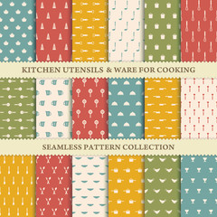 Collection of seamless backgrounds of kitchen utensils