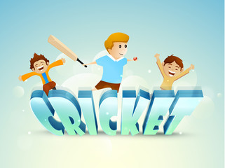 3D text Cricket with cute little kids holding bat and ball.