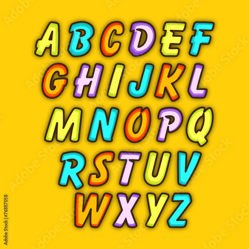 Colorful set of English alphabets in capital letter